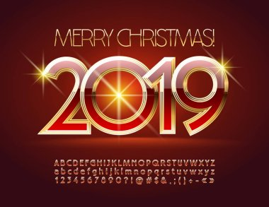 Vector Glamour Greeting Card Merry Christmas 2019. Luxury Font. Red and Golden Alphabet Letters, Numbers and Symbols.