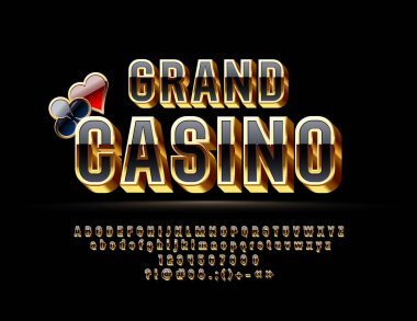 Vector Luxury Emblem Grand Casino. Chic bright 3D Font. Golden and Black glossy Alphabet Letters, Numbers and Symbols.