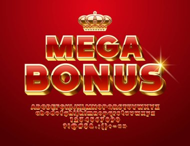 Vector glossy Sign Mega Bonus. Chic 3D Font. Luxury Red and Golden Alphabet Letters, Numbers and Symbols.