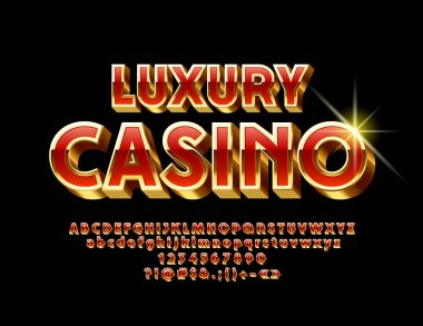 Vector Red and Gold Luxury Casino emblem. 3D exclusive Font. Chic modern Alphabet Letters, Numbers and Symbols