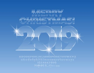 Vector ice Merry Christmas 2019 Greeting Card with Alphabet set of Letters, Symbols and Numbers. Magical Glass Font.