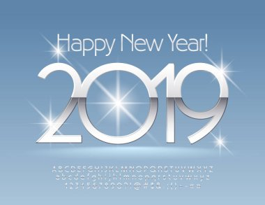 Vector snow Happy New Year 2019 Greeting Card with set of Letters and Numbers. Silver thin Font.