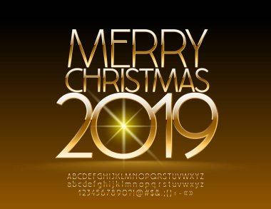 Vector chic Merry Christmas 2019 Greeting Card with Alphabet set of Letters, Symbols and Numbers. Golden Stylish Font.