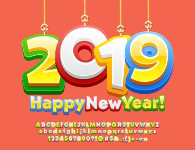 Vector greeting card Happy New Year 2019 with Toys for Kids. Children style Font. Colorful Alphabet.