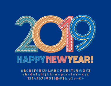 Vector original Greeting Card Happy New Year 2019. Jeans style Font for Kids. Denim fabric Colorful Alphabet Letters.