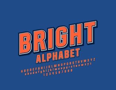 Vector Bright Font. Retro 3D Alphabet