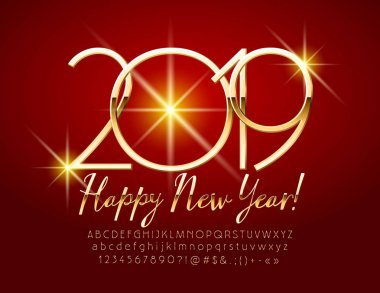 Vector Golden bright Happy New Year 2019 Greeting Card with set of Letters, Symbols and Numbers. Elegant slim Font.