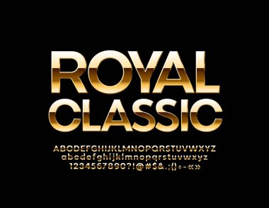 Vector Golden Royal classic Alphabet Letters, Numbers and Symbols. Stylish glossy Font.
