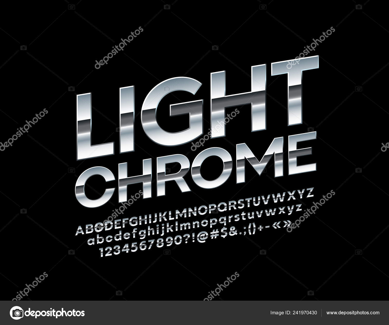 Rotated Chrome Alphabet Letters Numbers Symbols Vector Stylish