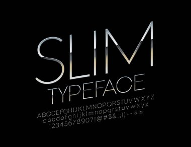Vector rotated Silver Font. Metallic slim Alphabet Letters, Numbers and Symbols.