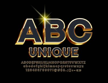 Vector Black and Gold chic 3D Font. Modern stylish Alphabet Letters, Numbers and Symbols.