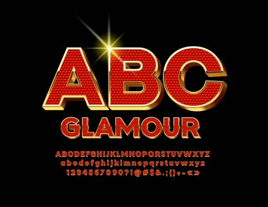 Vector Red and Gold luxury 3D Font. Bright glamorous Alphabet Letters, Numbers and Symbols.