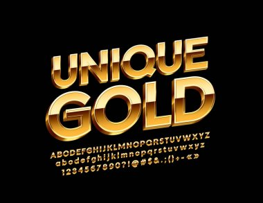 Vector Unique Gold Alphabet Letters, Numbers and Symbols, Glossy 3D Font.