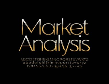 Vector business label Market Analysis with Golden Alphabet Letters, Numbers and Sybols. Luxury slim Font.