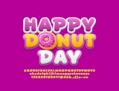 Vector bright card Happy Donut Day with funny Font. Alphabet Letters, Numbers and Symbols