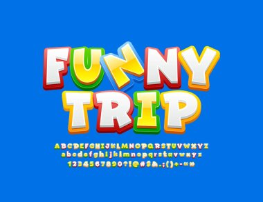 Vector colorful emblem Funny Trip with cartoon Font. Comic bright Alphabet Letters, Numbers and Symbols.