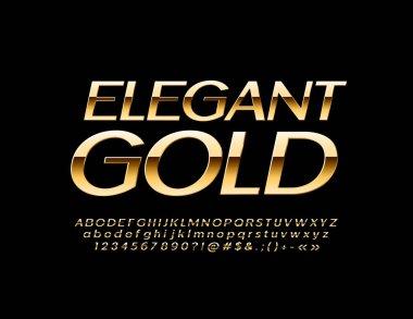 Vector Slim Elegant Gold Font. Luxury Alphabet Letters, Numbers and Symbols.