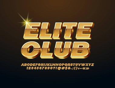 Vector Golden emblem Elite Club with luxury Font. Elite 3D Alphabet Letters, Numbers and Symbols