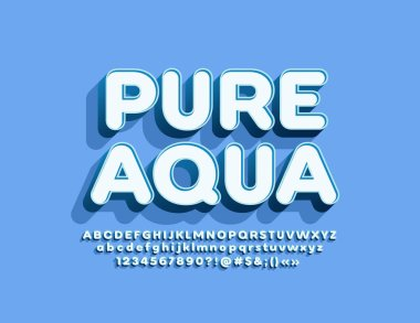 Vector emblem Pure Water with 3D Alphabet set. Trendy Font for Marketing and Advertising