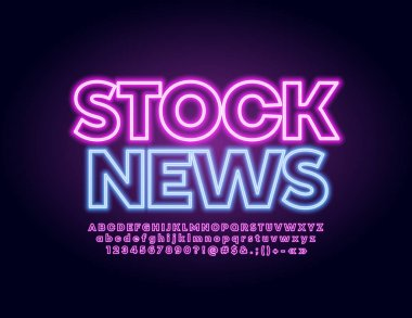 Vector glowing banner Stock News with Neon lighting Font. Illuminated Alphabet Letters, Numbers and Symbols