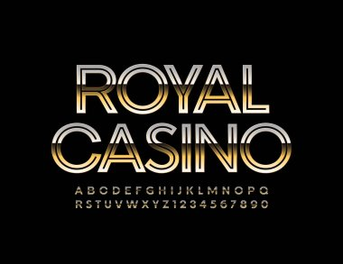 Vector elite logo Royal Casino with Golden Font. Shiny Uppercase Font. Chic Letters and Numbers set