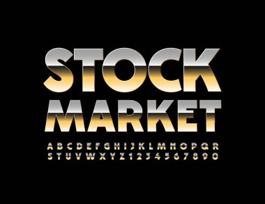 Vector chic Sign Stock Market. Bright stylish Font. Golden set of Alphabet Letters, Numbers and Symbols.