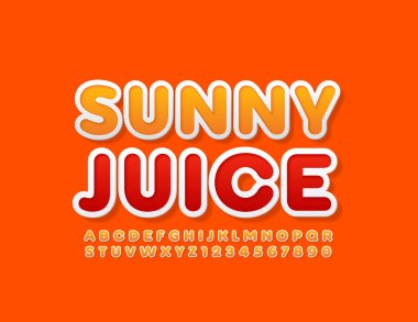 Vector modern logo Sunny Juice. White and Orange Alphabet Letters and Numbers. Bright Uppercase Font