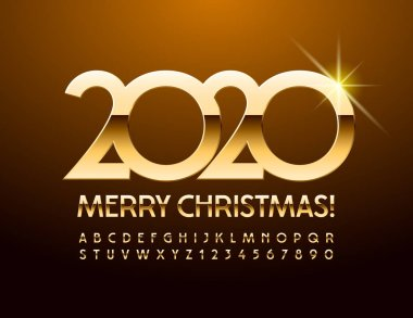 Vector chic Greeting Card Merry Christmas 2020. Unique Golden Font. Luxury Alphabet Letters and Numbers.