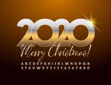 Vector chic Greeting Card Merry Christmas 2020. Elite Golden Font. Luxury Alphabet Letters and Numbers.