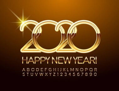 Vector chic Greeting Card Happy New Year 2020. Beautiful Golden Font. Stylish set of Alphabet Letters, Numbers and Symbols.