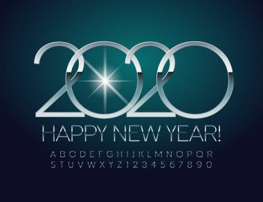 Vector Happy New Year 2020 Greeting Card. Elegant Alphabet set of Letters and Symbols. Silver glossy Font.