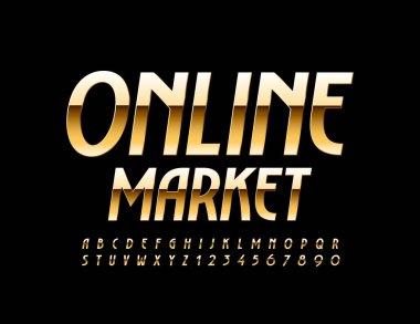 Vector premium sign Online Market. Elegant Gold Font. Elite Alphabet Letters and Numbers for Advertisement