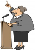 Illustration of a middle aged woman speaking from a wooden podium with a microphone.