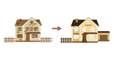 House before and after repair. Old run-down home. Renovation building. The cottage is modern. Vector illustration.