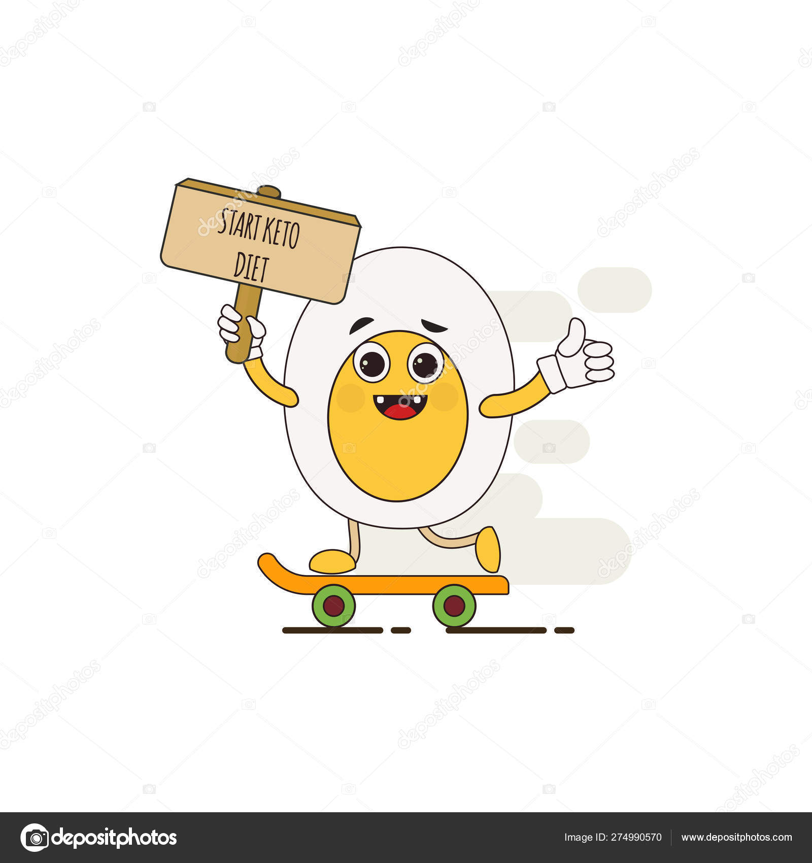 Funny Cute Egg Character Start Keto Diet Ketogenic Diet For Weight Loss And Treatment Vector Illustration Stock Vector C Kos911 274990570