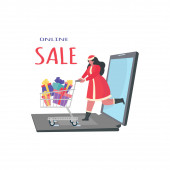 Happy woman carrying Christmas gifts. Winter holidays concept, New Year, Xmas, holiday concept for banner, website design or landing web page, banner,  cards, posters.