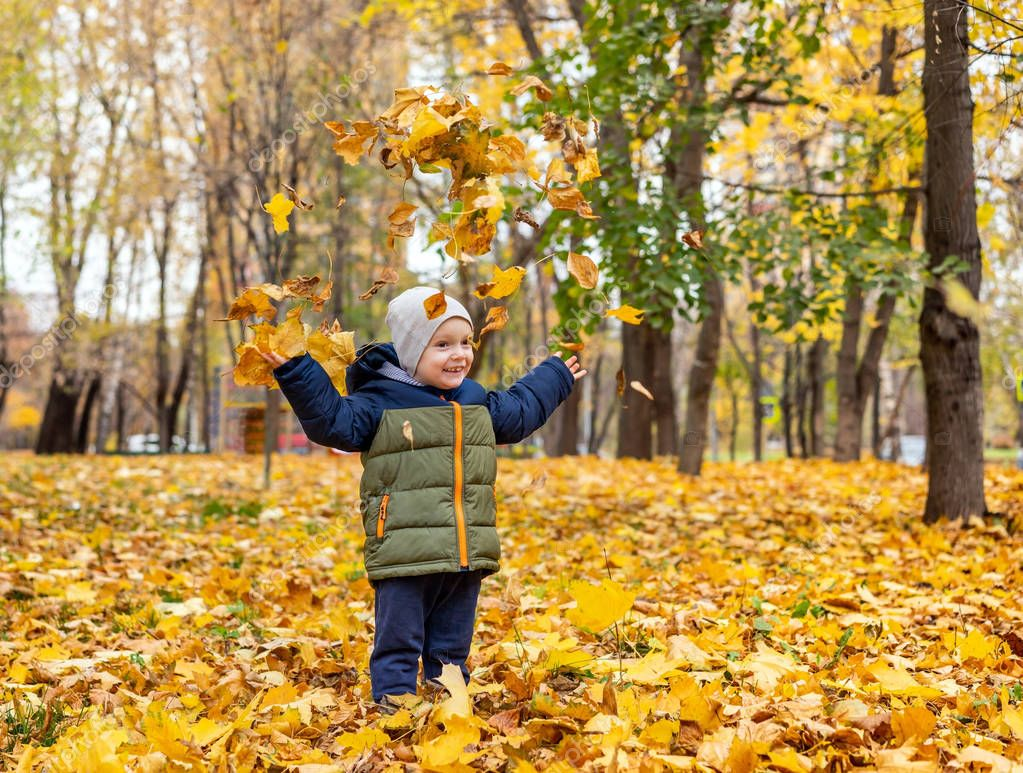Happy beautiful little boy throws up autumn foliage in park