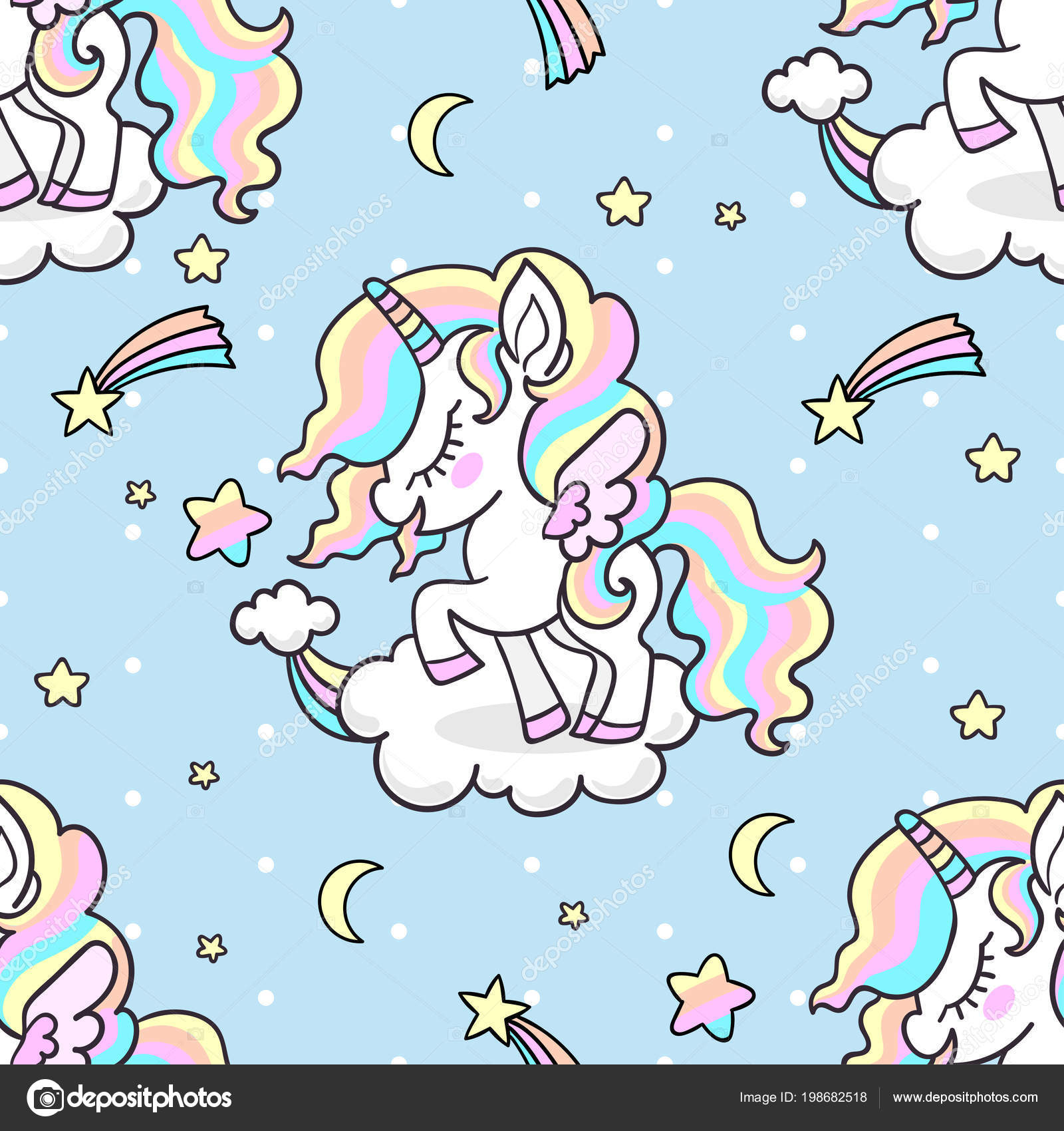 Cute Little Rainbow Unicorn Background Polka Dots Seamless ...