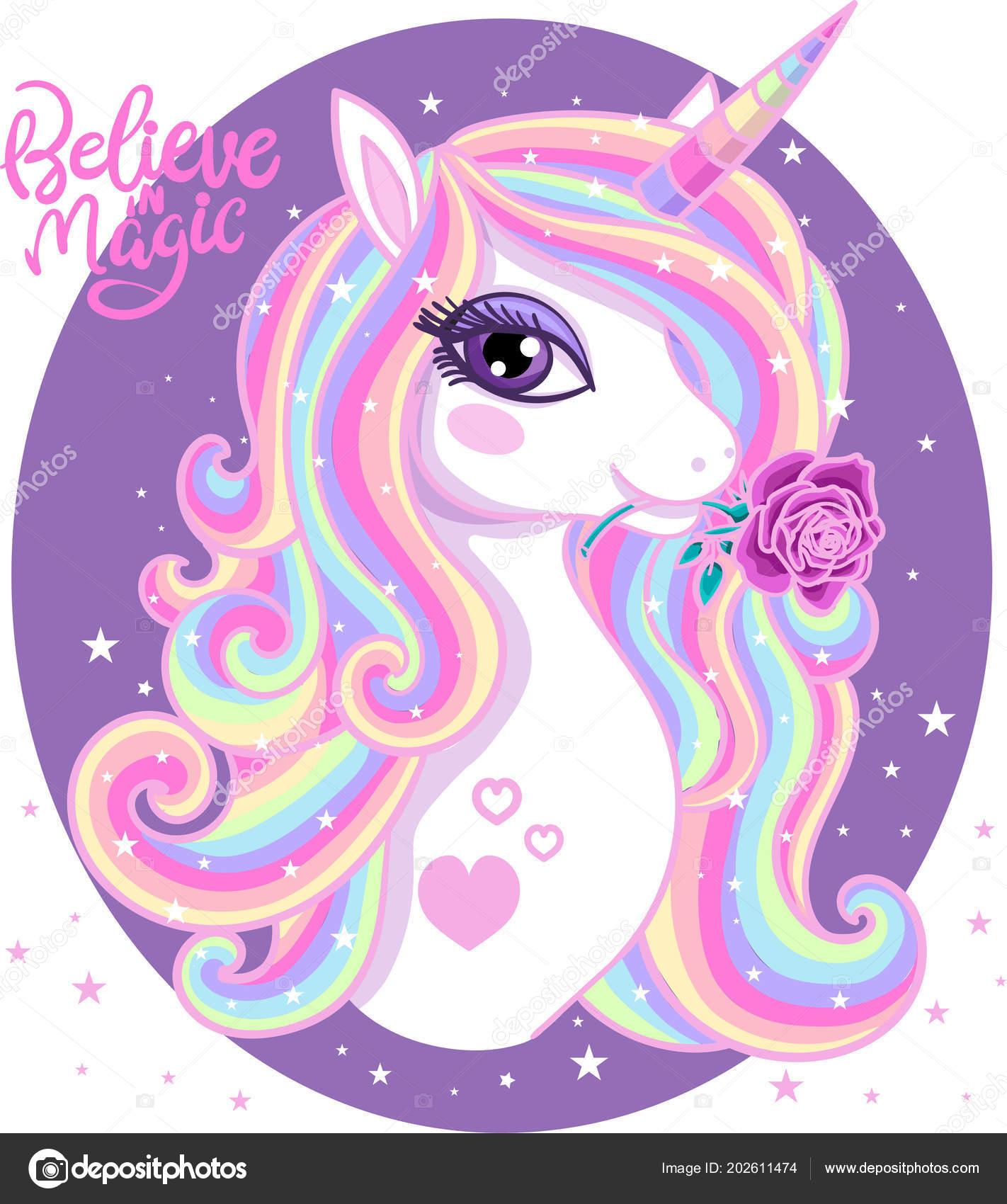 Creer Magia Hermoso Unicornio Arco Iris Con Una Rosa Marco — Vector ...