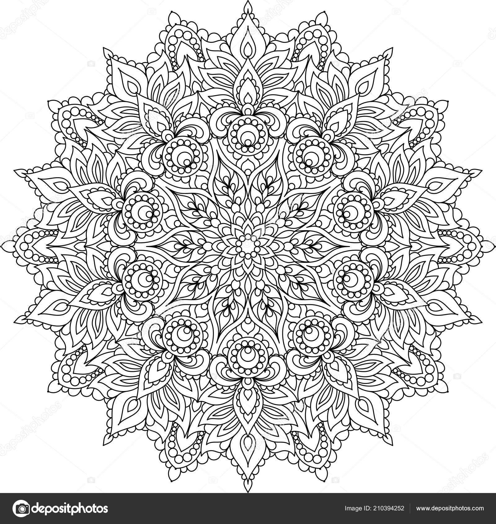 Mandala Schwarz Weiß Dekoratives Element Vektor Zum Ausmalen Islam