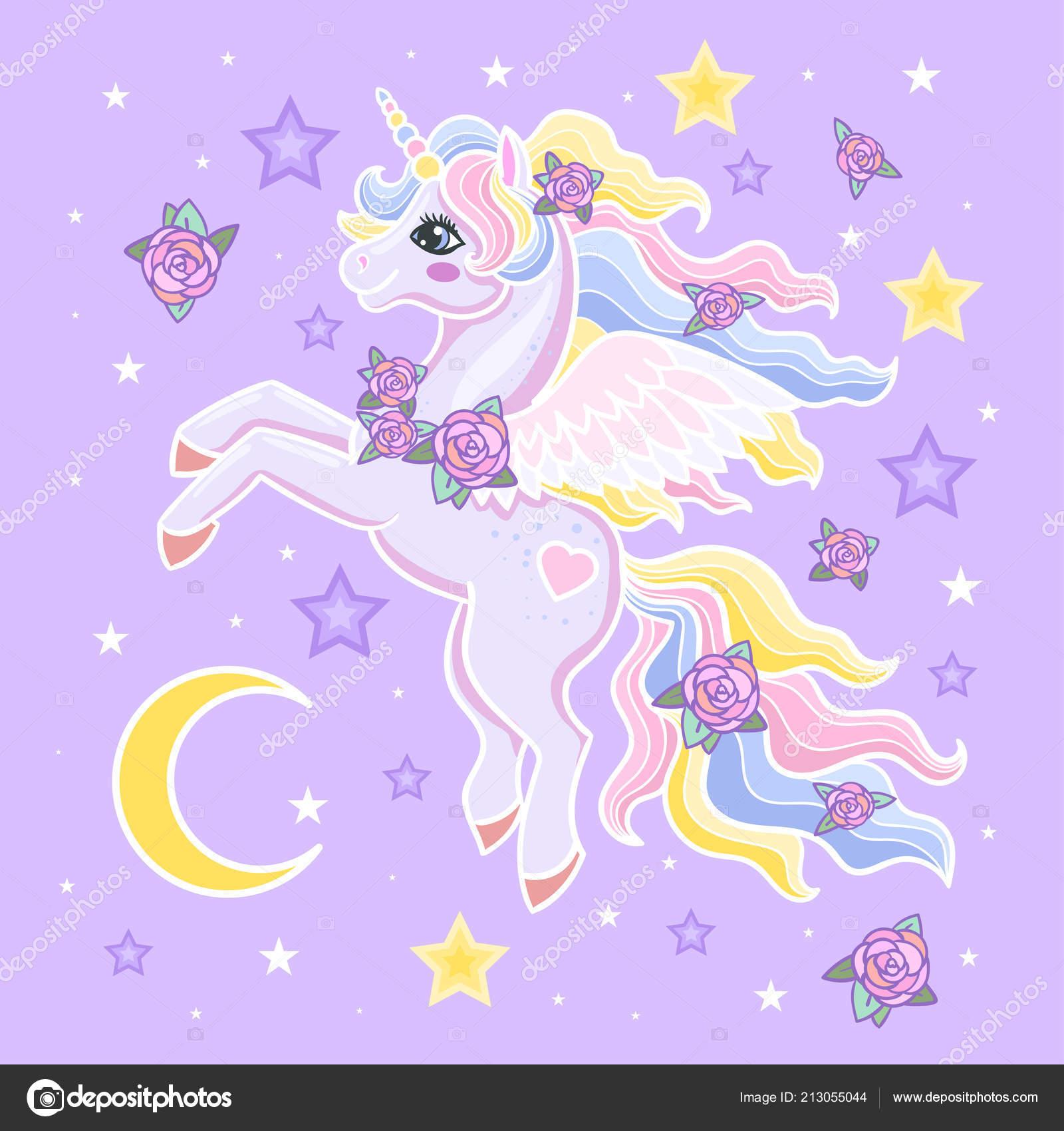 Cartoon Rainbow Unicorn Wings Stars Lilac Background Design Prints Posters Stock Vector