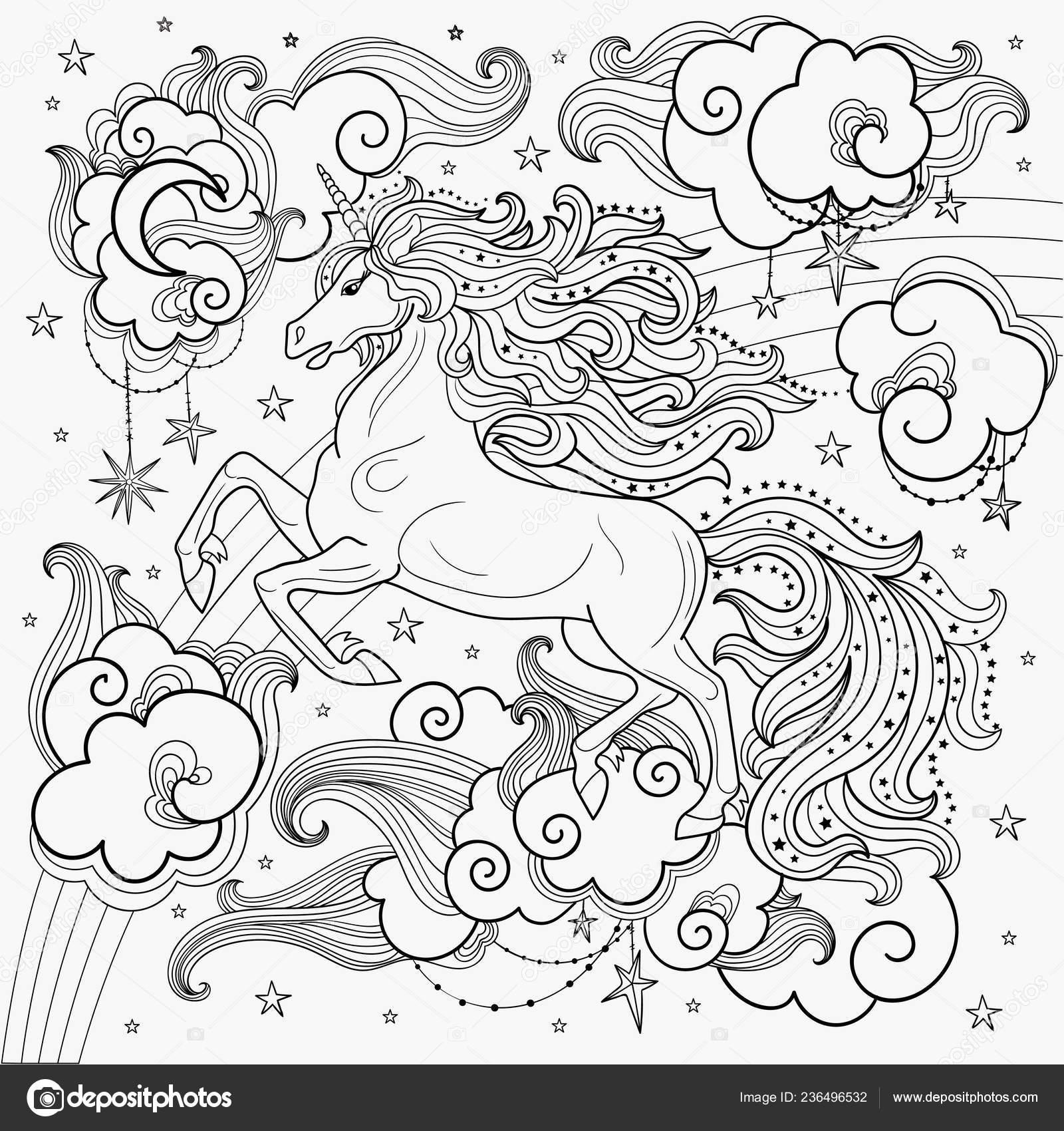 Hermoso Unicornio Entre Las Nubes Dibujado Mano Blanco Negro Para