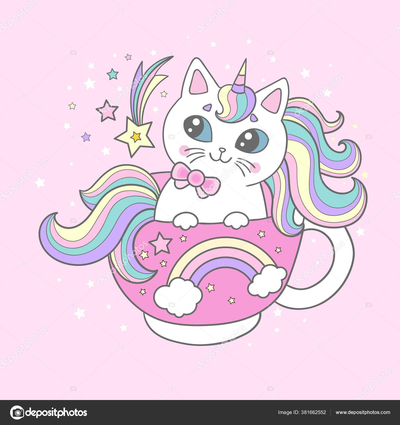Cute, cartoon cat, unicorn in a cup. Childrens design. Vector ...