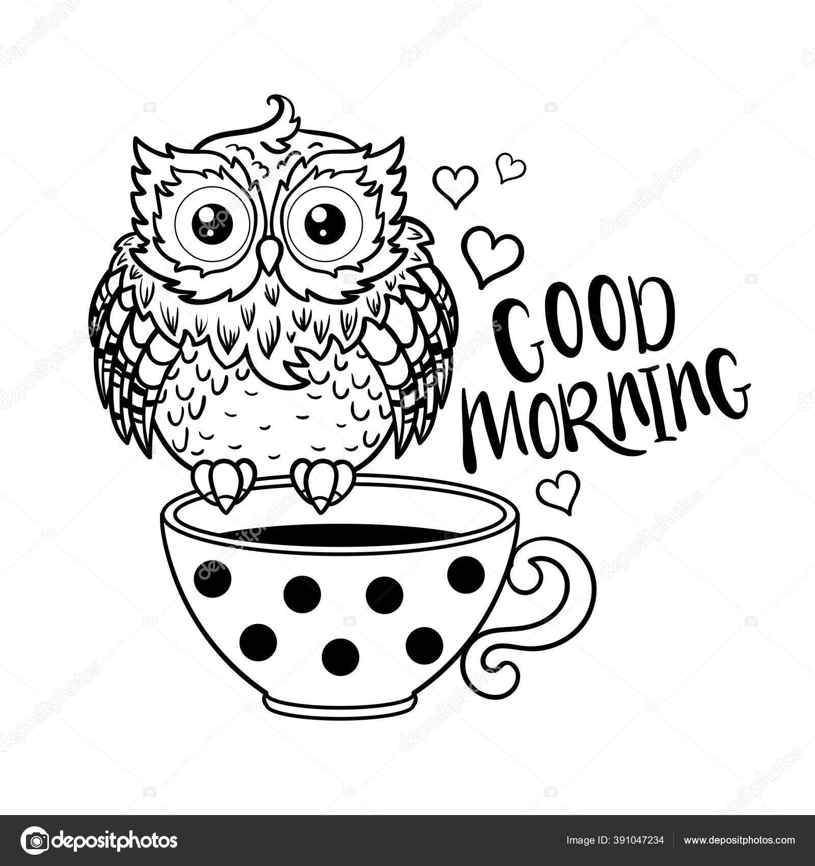 Lucu Burung Hantu Lucu Dengan Secangkir Kopi Karakter Kartun Garis Hitam Pada Latar Belakang Putih Vektor Stok Vektor C Zerlina 391047234