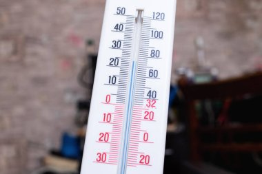 Room mercury thermometer on the table close up