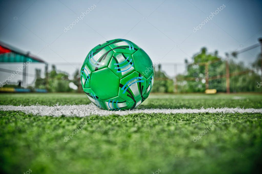 Football defocused players penalty on field Small, Futsal ball field in the gym indoor, Soccer sport field . Corner of a soccer field . Mini Football Goal On An Artificial Grass .
