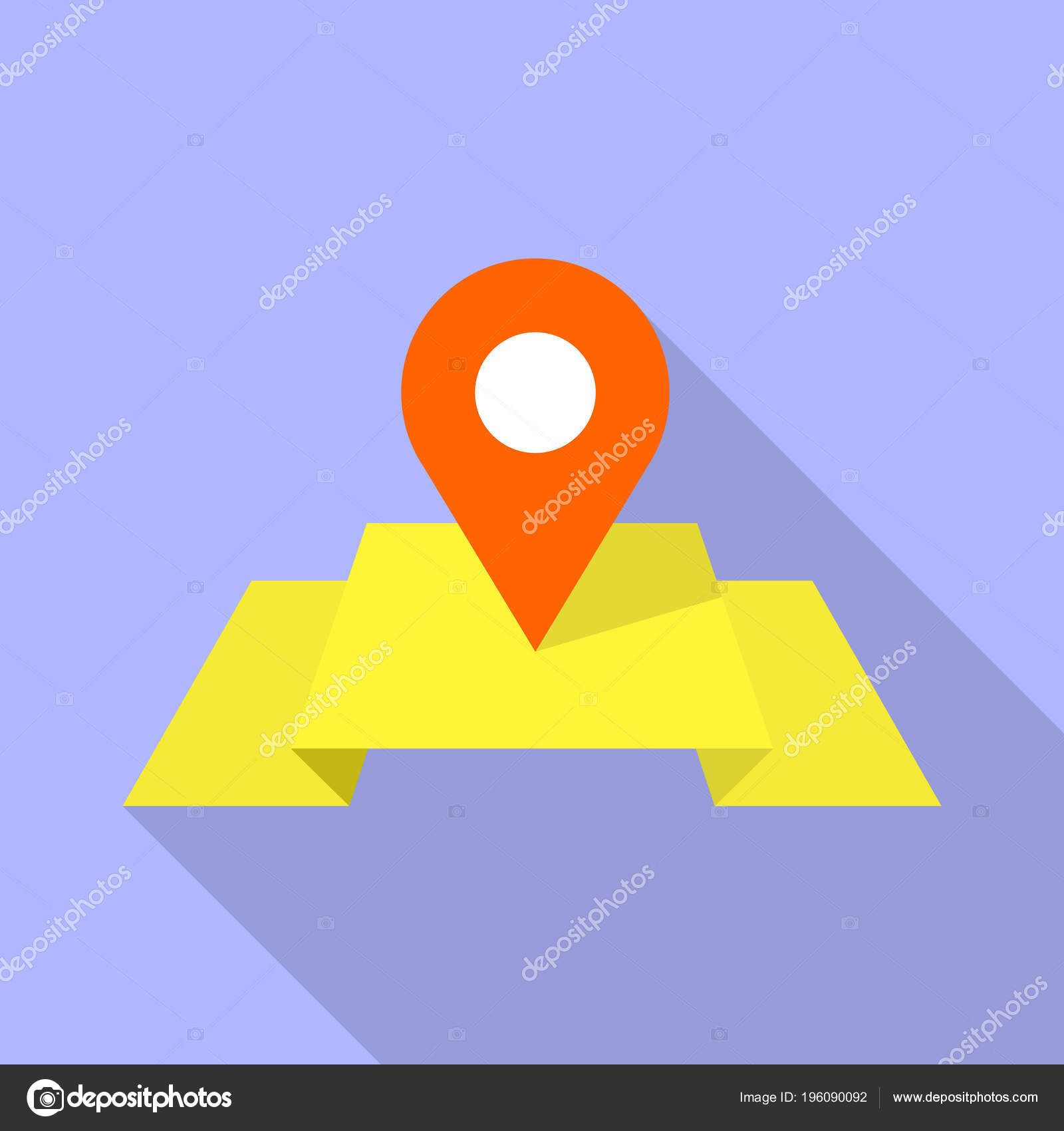 red pin on yellow map icon flat style stock vector ylivdesign