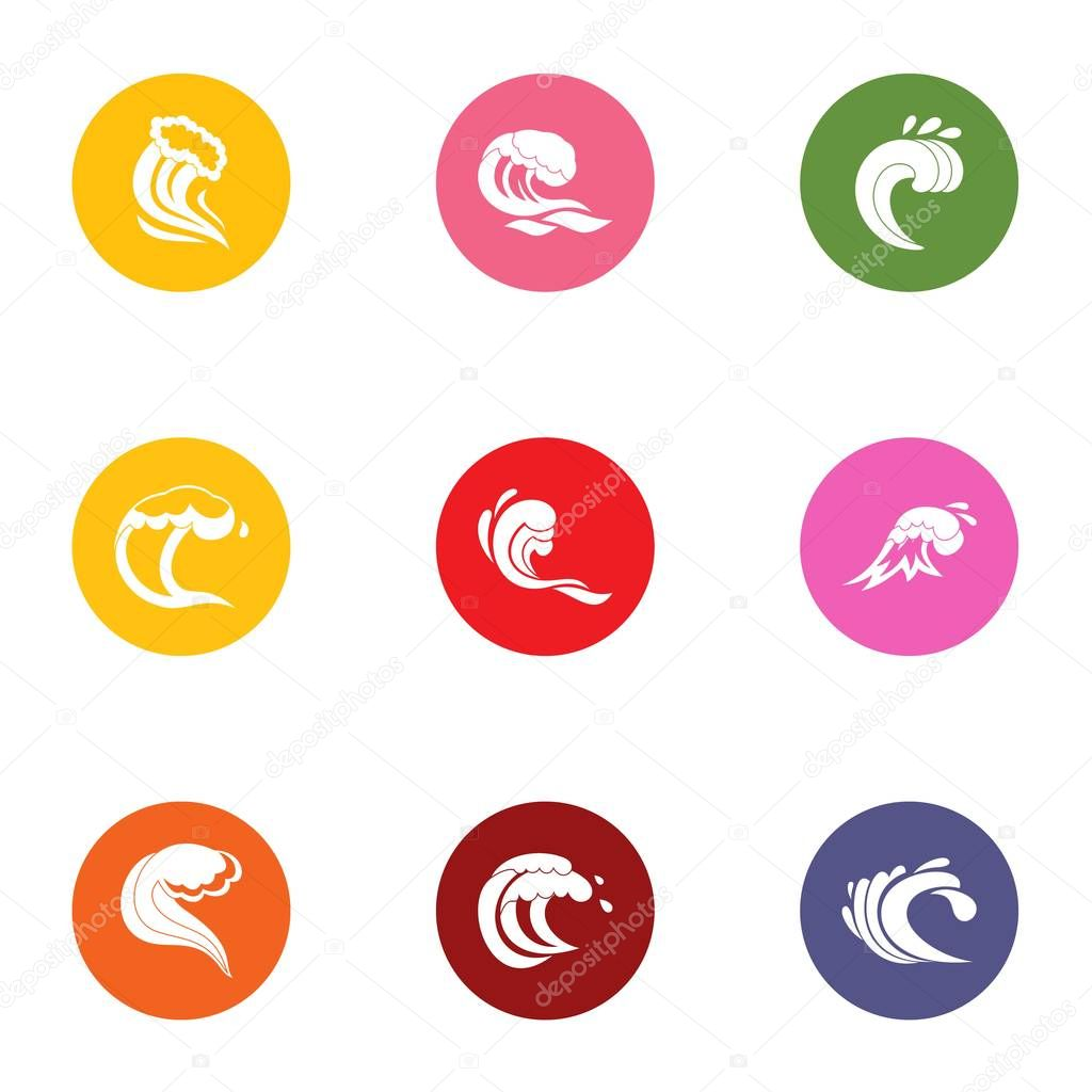 Splash icons set, flat style