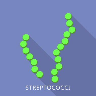 Streptococci icon, flat style