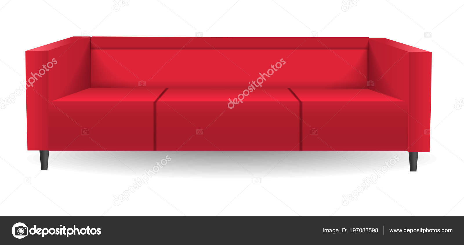 Miraculous Red Corner Sofa Mockup Realistic Style Stock Vector Caraccident5 Cool Chair Designs And Ideas Caraccident5Info